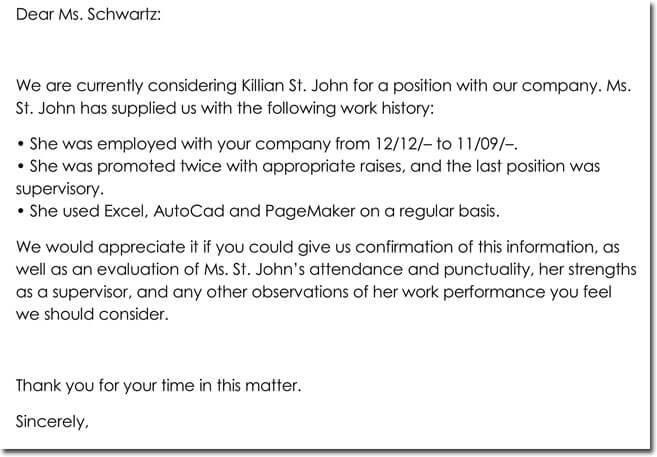 Employment Verification Request Letter Format