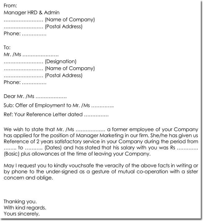 Example Employment Verification Request Letter