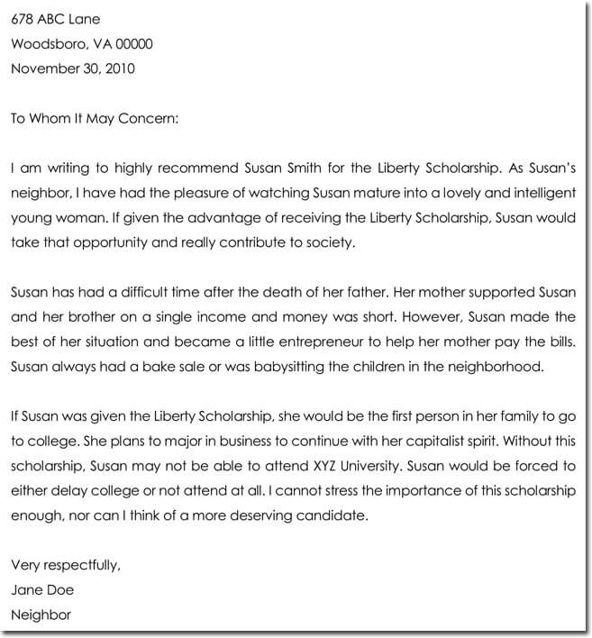 letter of recommendation for scholarship
