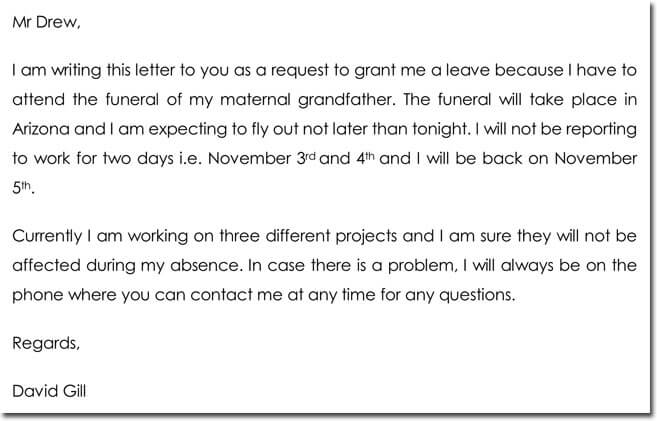 Funeral Leave Letter Sample