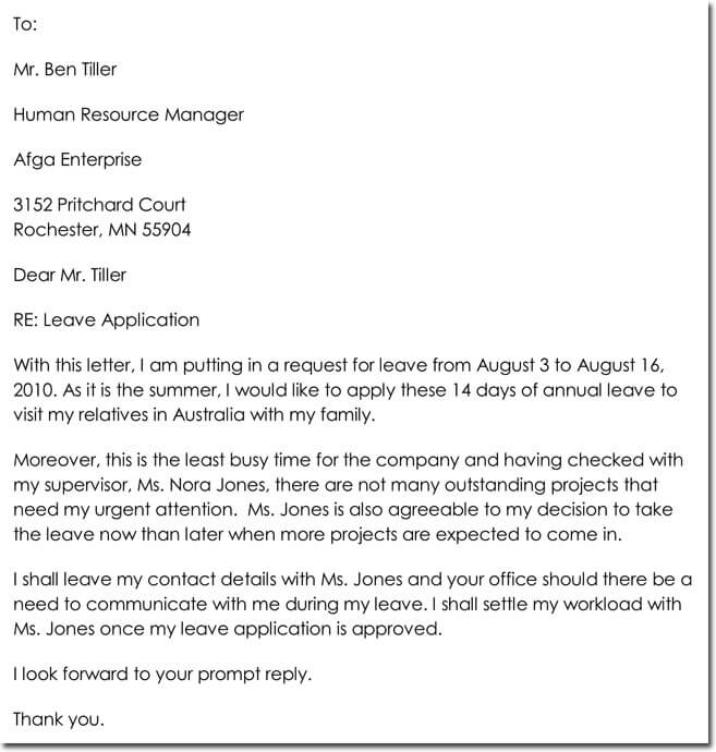 Leave application letter for vacation militaryalicious leave application thecheapjerseys Images