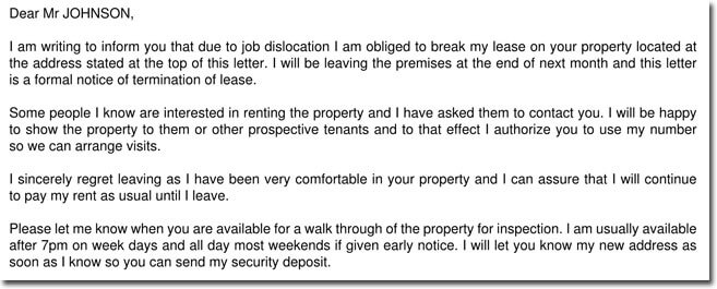 Job Dislocation Lease Termination Letter Sample