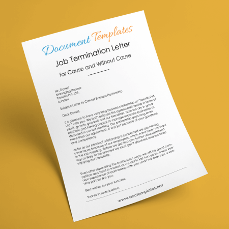 Job Termination Letter Samples With Cause & Without Cause