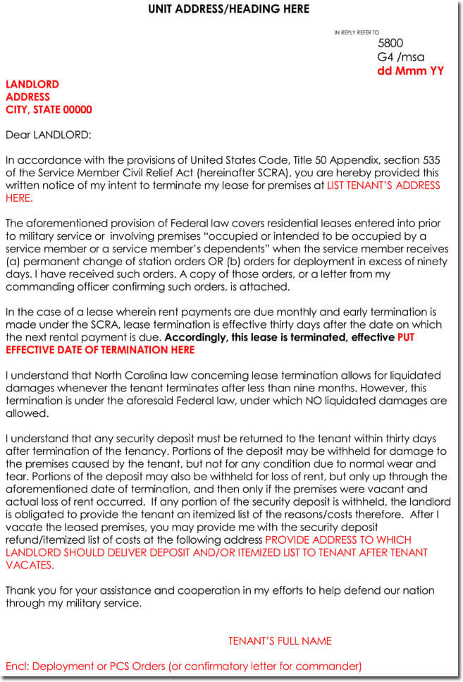 Lease Termination Letter   Samples Examples  Formats