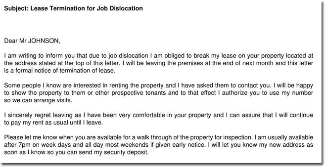 Lease Termination for Job Dislocation Letter Sample
