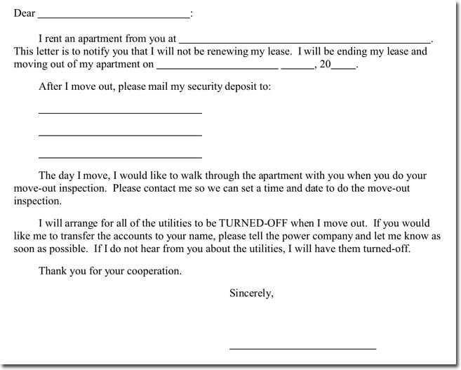 lease termination letter