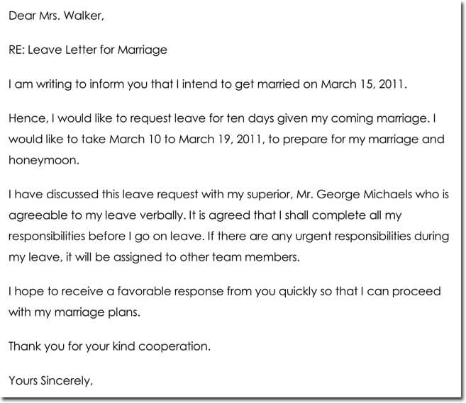 Marriage Leave Letter Sample