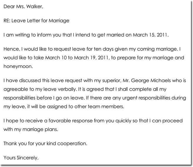 Leave letter templates 14 samples in pdf word format marriage leave letter sample spiritdancerdesigns Images