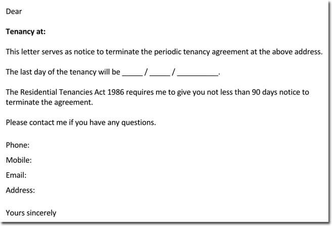 Notice Letter to Terminate a Periodic Tenancy