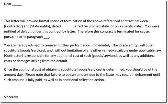 Notice of Vendor Termination Letter Sample