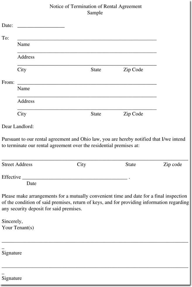 Sample Rental Termination Letters, Notice & Form Formats