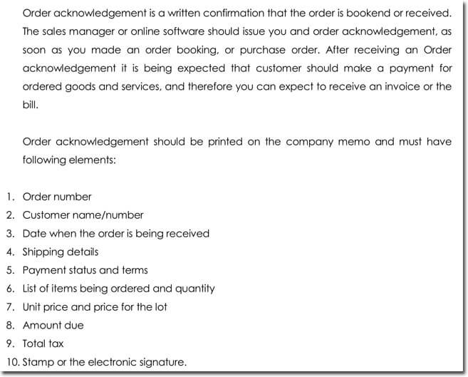 Order Acknowledgement Letter Templates