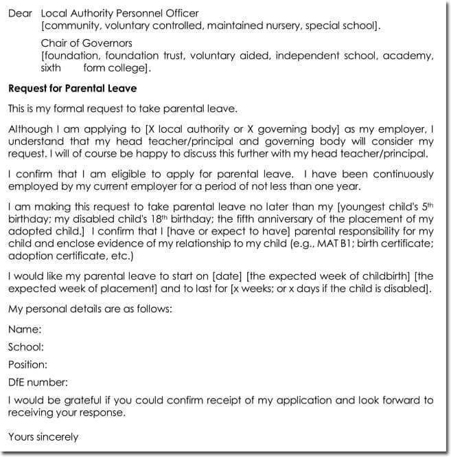 parental leave letter template