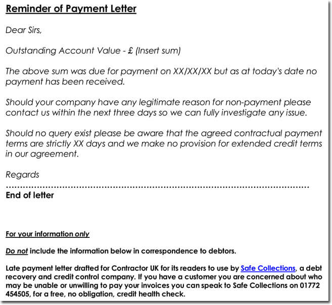 Reminder of Payment Letter Sample