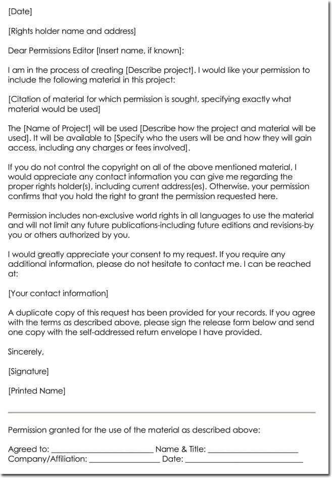 Sample Copyright Permission Letter Template