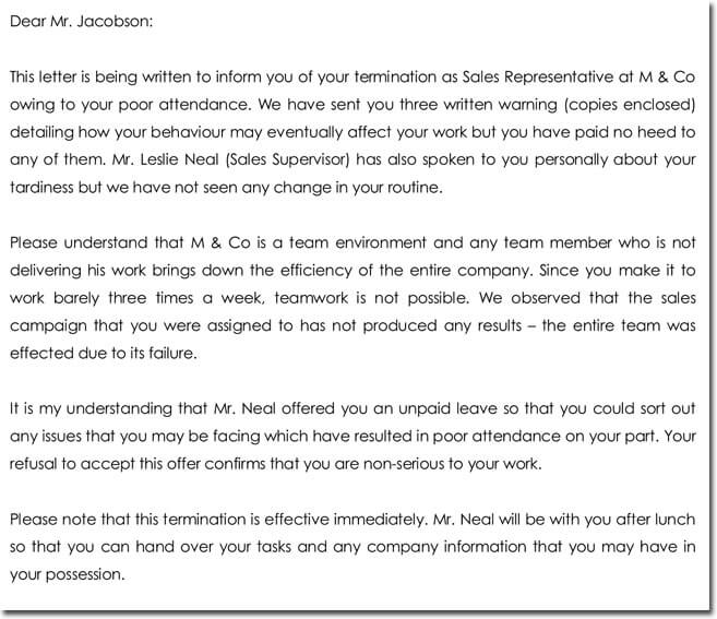 Sample Employee Termination Letter Due to Poor Attendance