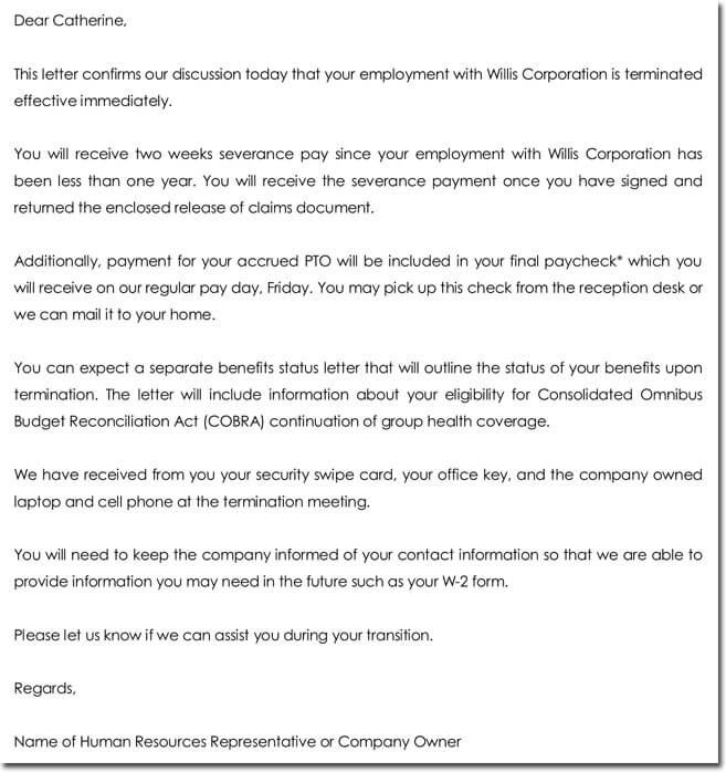 Sample Employment Termination Letter Format