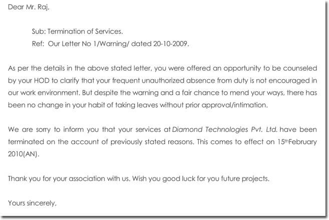 sample job termination letter due to frequent absence