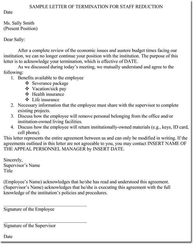 Sample Letter Of Employment Termination Due To Staff Reduction  Employee Termination Template