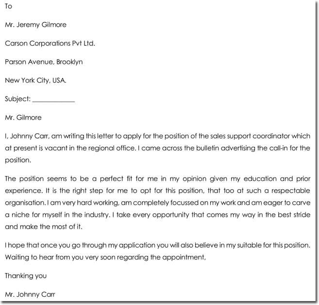 Sample Letter of Support for Sales