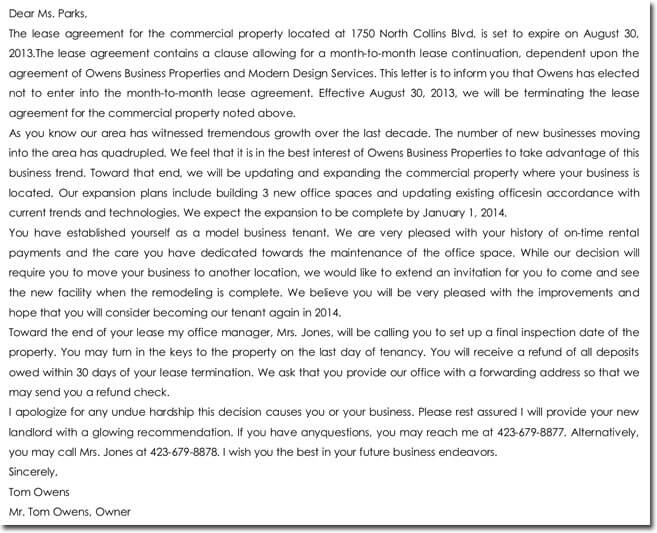 Sample Lease Termination Letter To Tenant: 28+ Samples Of Termination Letter Templates & Formats