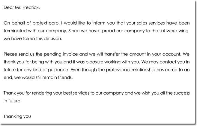 Sample Sales Services Termination Letter