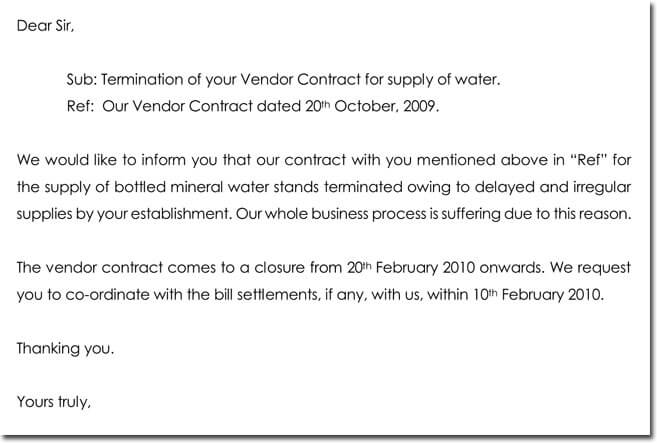 Sample Vendor Termination Letter Format