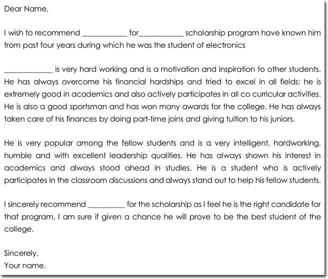 Letter Of Recommendation For Scholarship   Best Samples