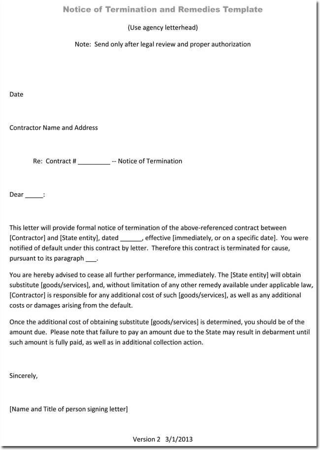 Free Job Termination Letter Without Cause  Company Termination Letter