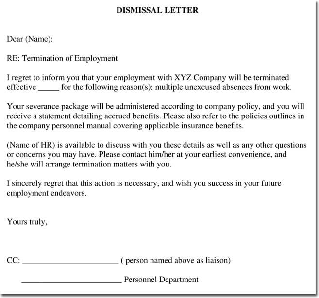 Sample Termination Letter To Employee For Absence