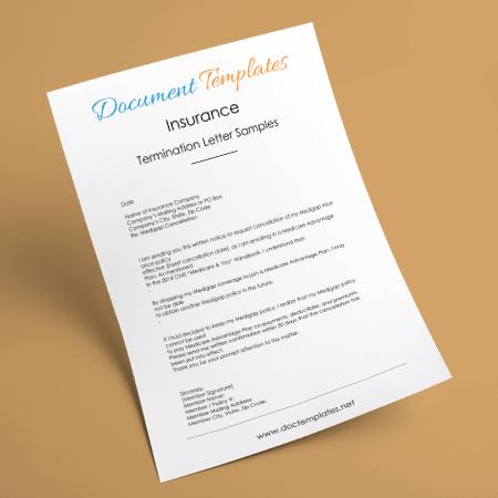 Insurance Termination Letter Samples
