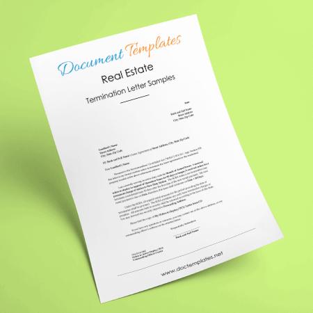 Real Estate Termination Letter Samples