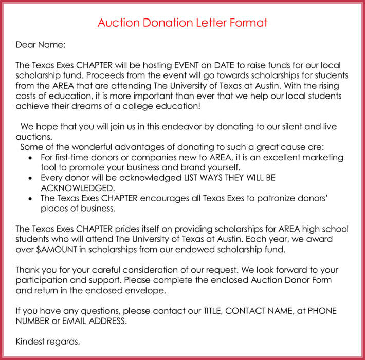 Auction Donation Letter Format