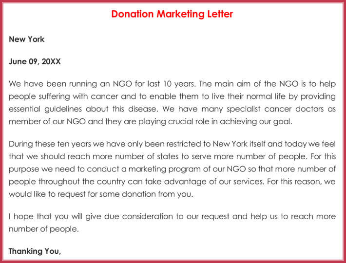 Donation Marketing Letter