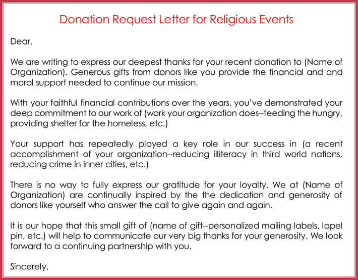 Donation Request Letter for Religious Events