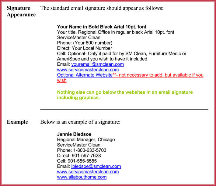 Email Signature Standards