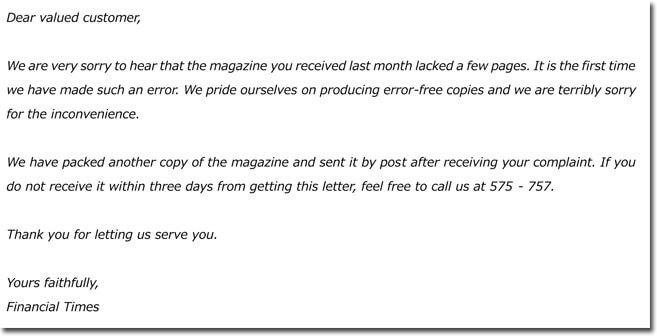 Formal Customer Complaint Letter