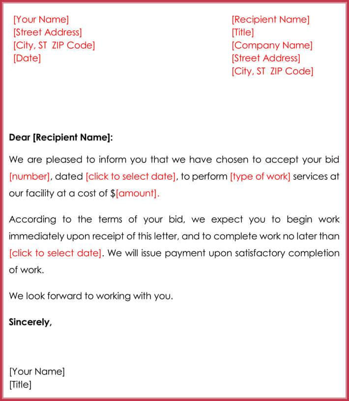 Invitations to Bid Marketing Letter