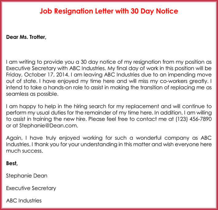 Job Resignation Letter with 30 Day Notice