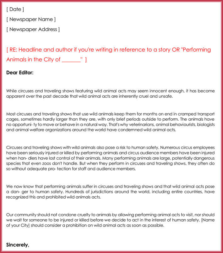 letter writing format to editor letter to the editor templates 10 samples amp formats 11595