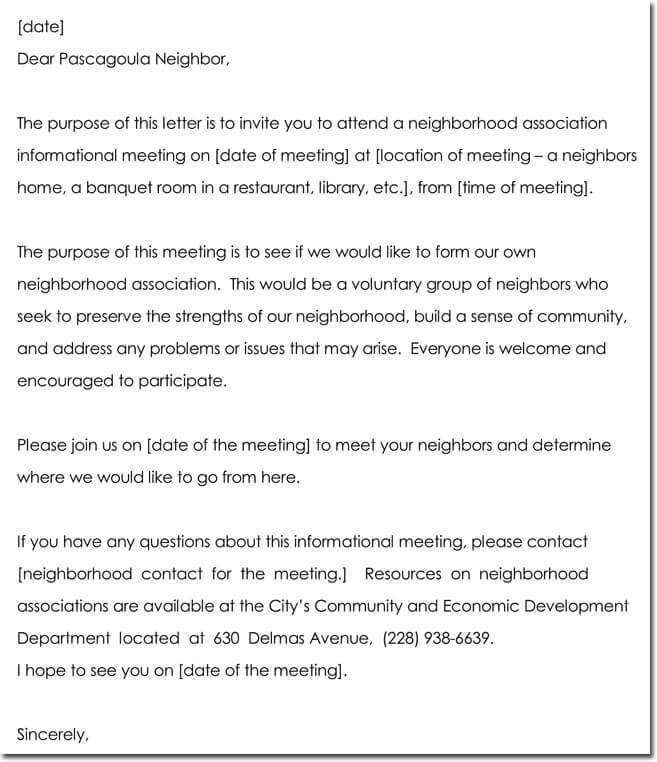 Meeting Invitation Letter Templates