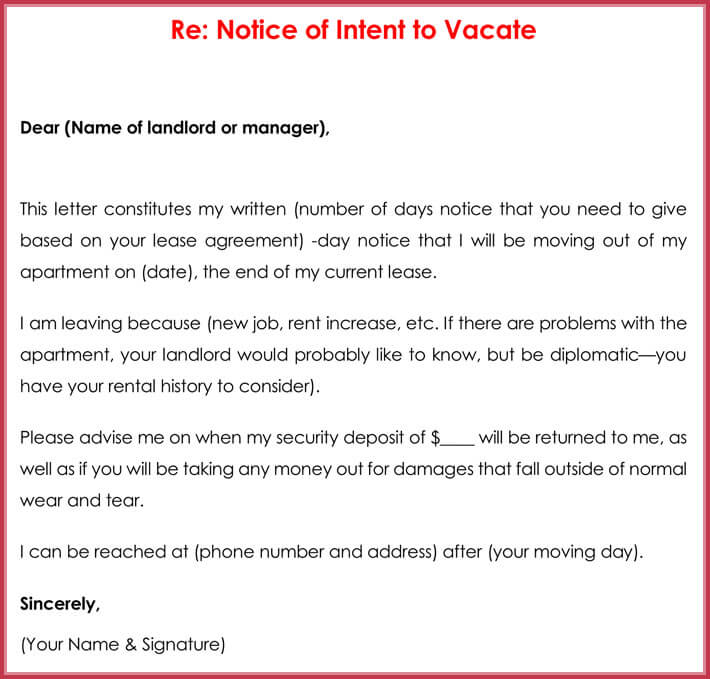 Notice of Intent to Vacate Template