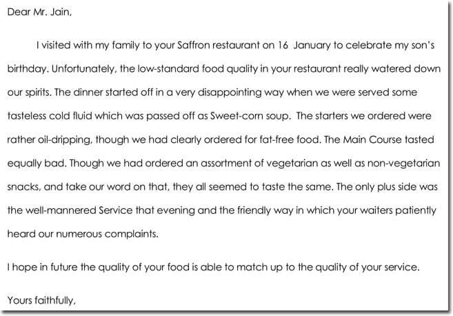 Restaurant Complaint Letter Templates