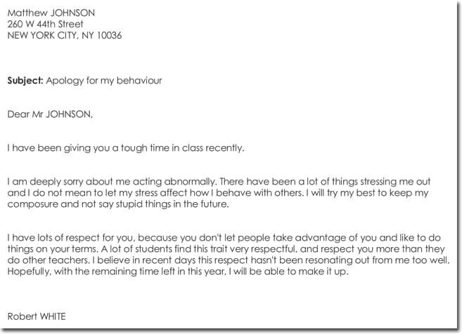 Sample Apology Letter to Teacher Template