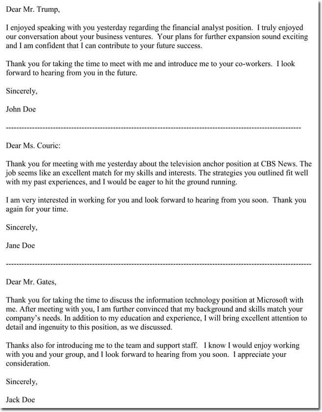 Sample Business Thank You Letters
