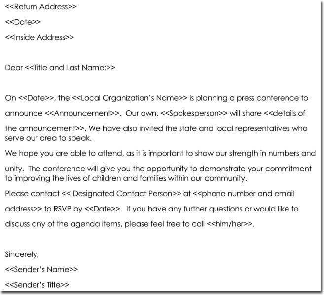Sample Conference Invitation Letter Template