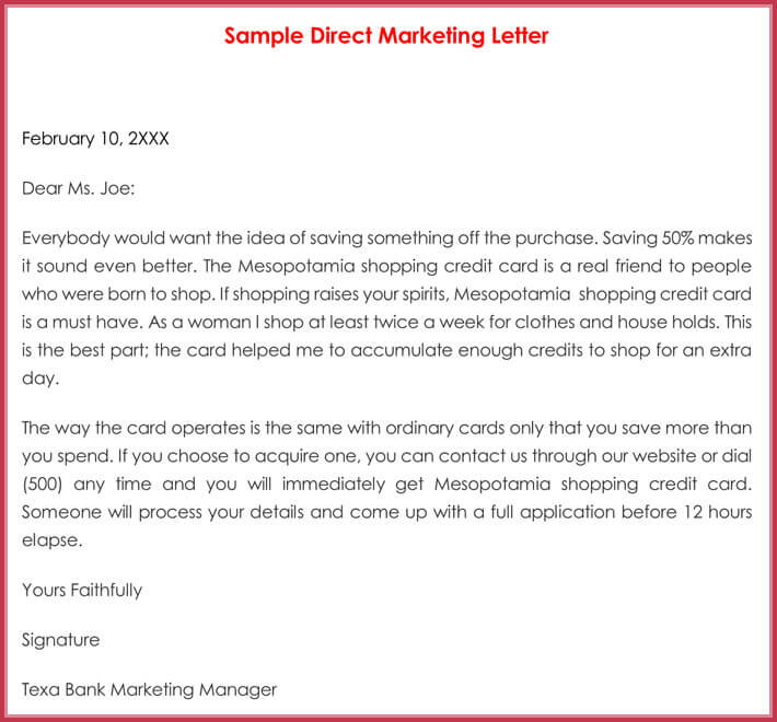 Sample Direct Marketing Letter