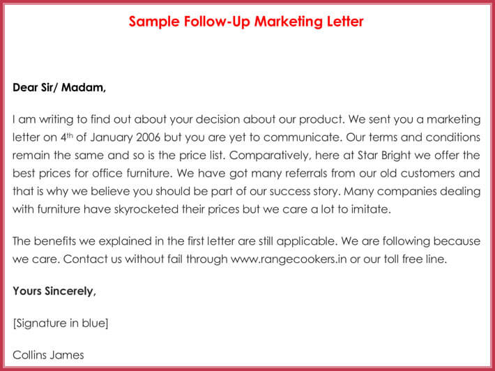 Sample Follow-up Marketing Letter