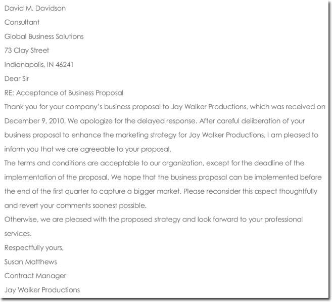 Sample Formal Business Proposal Acceptance Letter