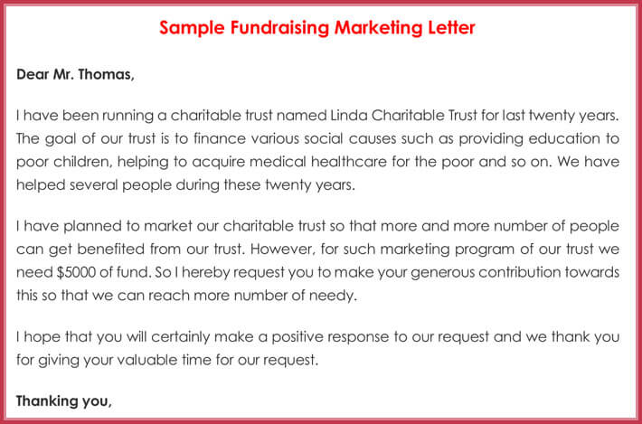 sample fundraising marketing letters